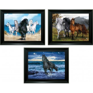 3D Lenticular picture w/ frame - Running Horse Triple Images