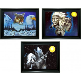 3D Lenticular picture w/ frame - Indian Triple Images