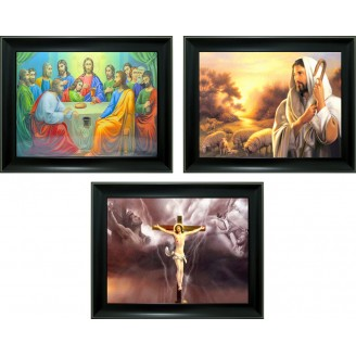 3D Lenticular picture w/ frame - Last Supper & Jesus Triple Images