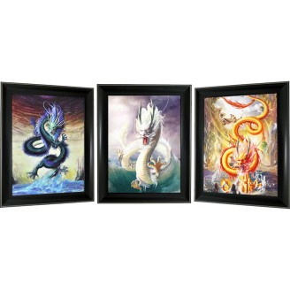 3D Lenticular picture w/ frame - Dragon Triple Images
