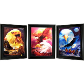 3D Lenticular picture w/ frame -  Eagle Triple Images