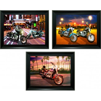 3D Lenticular picture w/ frame - Motorcycle Scenery Triple Images