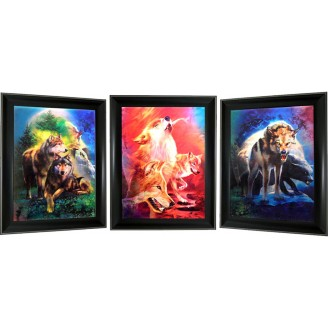 3D Lenticular picture w/ frame - Wolf Triple Images