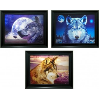 3D Lenticular picture w/ frame - Howling Wolf  Triple Images