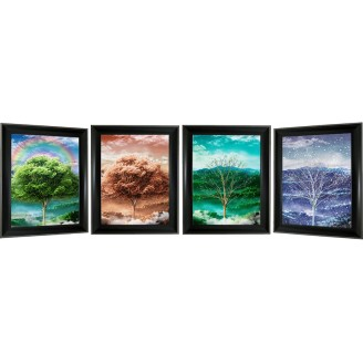 3D Lenticular picture w/ frame - Four Season Tree Triple Images