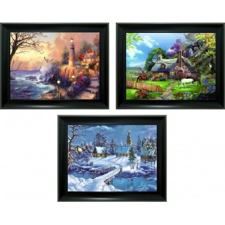 3D Lenticular picture w/ frame - Light House Triple Images