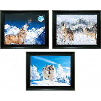 3D Lenticular picture w/ frame - Wolf Snow Triple Images