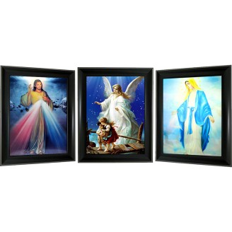 3D Lenticular picture w/ frame - Jesus & Maria Triple Images