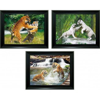 3D Lenticular picture w/ frame - Tiger Fighting Trip. Image