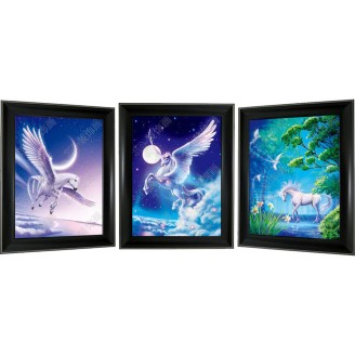 3D Lenticular picture w/ frame - Unicorn Triple Images