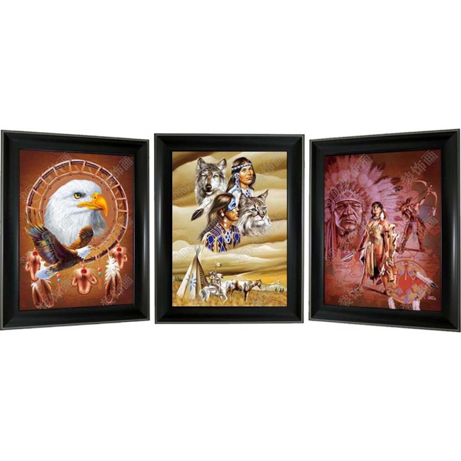 3D Lenticular picture w/ frame – Indian Eagle Triple Images