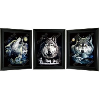 3D Lenticular picture w/ frame – Wolf Head Triple Images