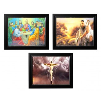 LED Lighted 3D Picture Frame - Last Supper Triple Images