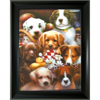 3D Lenticular picture w/ frame Group puppy