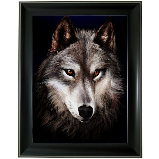 3D Lenticular picture w/ frame Wolf head