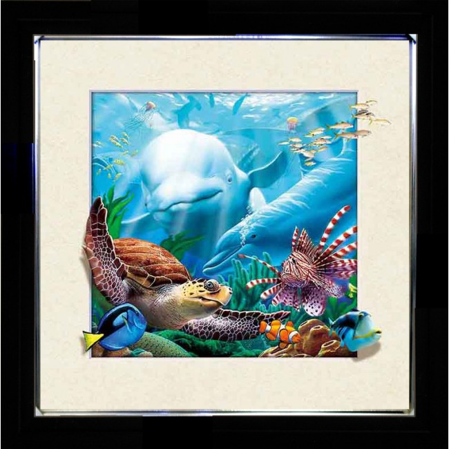 5D Lenticular picture w/ frame Dolphin & Turtle