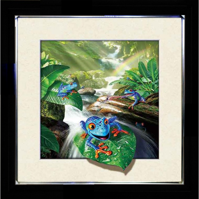 5D Lenticular picture w/ frame Frog on leaf