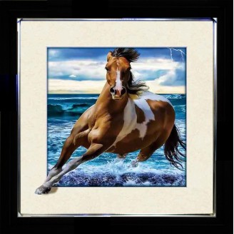 5D Lenticular picture w/ frame Running Horse