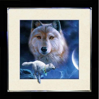 5D Lenticular picture w/ frame White Wolves