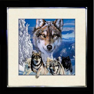 5D Lenticular picture w/ frame Wolve Howling