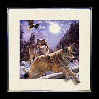 5D Lenticular picture w/ frame Wolves snow
