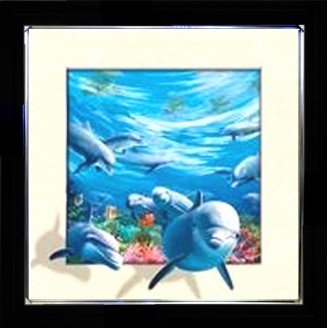 5D Lenticular picture w/ frame Dolphin & Turtle  Lenticular