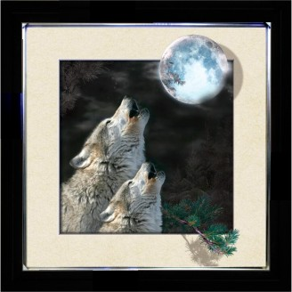 5D Lenticular picture w/ frame Wolf Howling