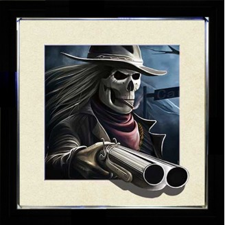 5D Lenticular picture w/ frame Skeleton Double Barrel Gun