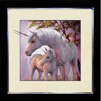 5D Lenticular picture w/ frame Unicorn