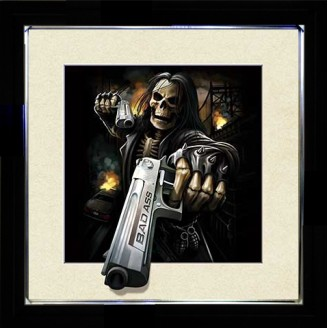 5D Lenticular picture w/ frame Skeleton Twin gun