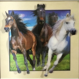 5D Lenticular picture w/ frame Three Horses