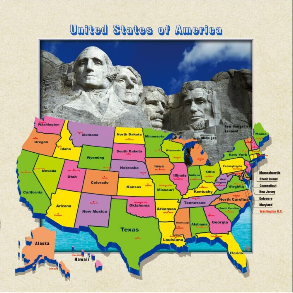 5d Lenticular Picture W Frame Us Map Mount Rushmore - Mount-rushmore-on-us-map