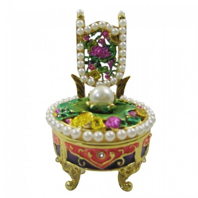 JF1134 Chair with Pearls Collectible Trinket Jewelry Box  3.2 x 2.2 x 2.5