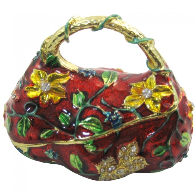 JF1150 Red Flower Handbag  Trinket Jewelry Box  4.5 x 3 x 3.5