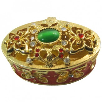 JF1185 Red and Gold Trinket Jewelry Box  4.5 x 3 x 3.5+B134