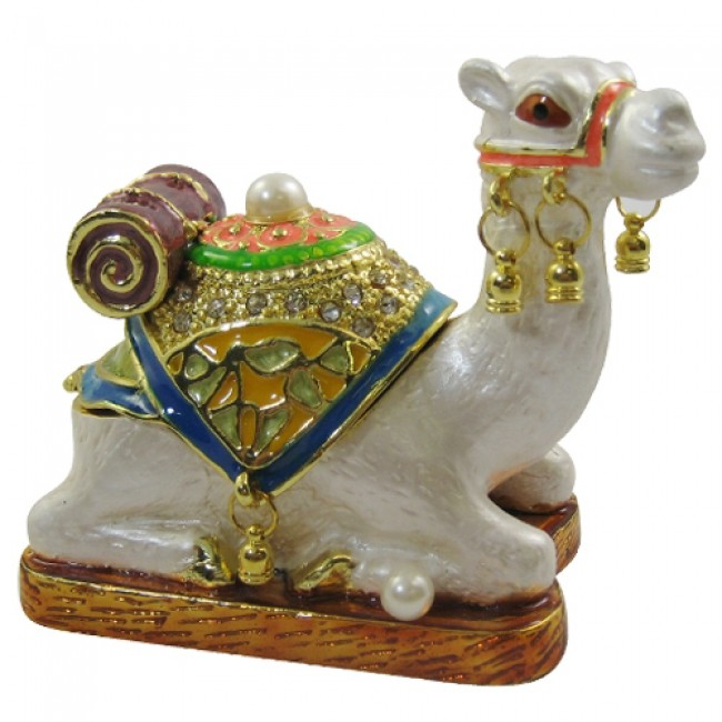 JF1420 White Camel Sitting Trinket Jewelry Box  6.5 x 3.2 x 4