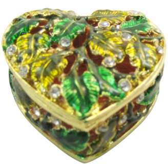 JF1472 Leafy Heart Box  Trinket Jewelry Box  8.5 x 3.5 x 3.5