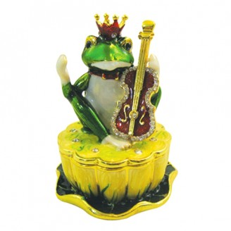 JF1475 Frog prince with violin  Trinket Jewelry Box