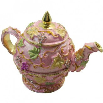JF1477 Pink Tea Pot Trinket Jewelry Box 6.5 x 3 x 4