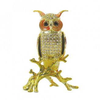 JF1676 Owl on Branch Large Trinket Jewelry Box  6.5 x 3 x 4