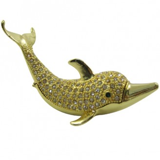 JF1759 Golden Dolphin Trinket Jewelry Box 4 x 2 x 3