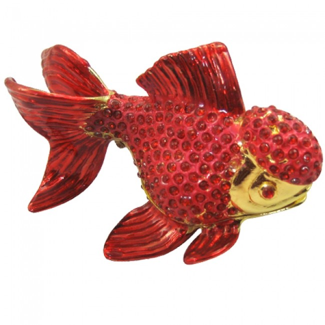 JF1789 Red Gold Fish Trinket Jewelry Box