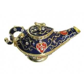 JF1794 Blue Genie Lamp Trinket Jewelry Box 6.2 x 3.8 x 6.2