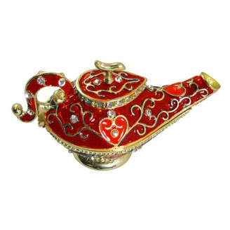 JF1794 Red Genie Lamp Trinket Jewelry Box 6.2 x 3.8 x 6.2