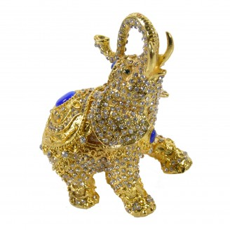 "JF1831 Golden Elephant Trinket Jewelry Box 3.5""X2""X4"""