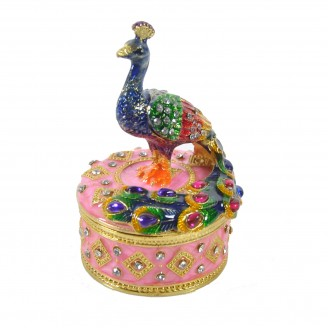 "JF1832 Peacock on small box Trinket Jewelry Box 2""X2""X3"""