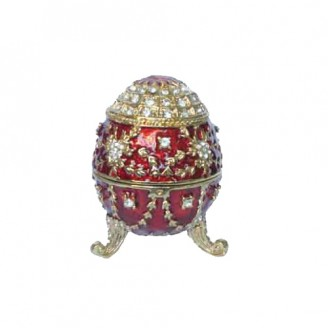 JF1852 Red Egg on Peg Trinket Jewelry Box  3.2 x 2.5 x 2.5