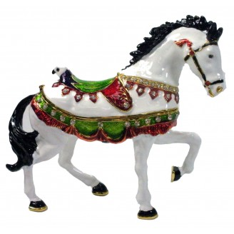 JF1884 White Horse Trinket Jewelry Box