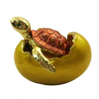 JF2037 Small Turtle in Hatching Egg Trinket Jewelry Box