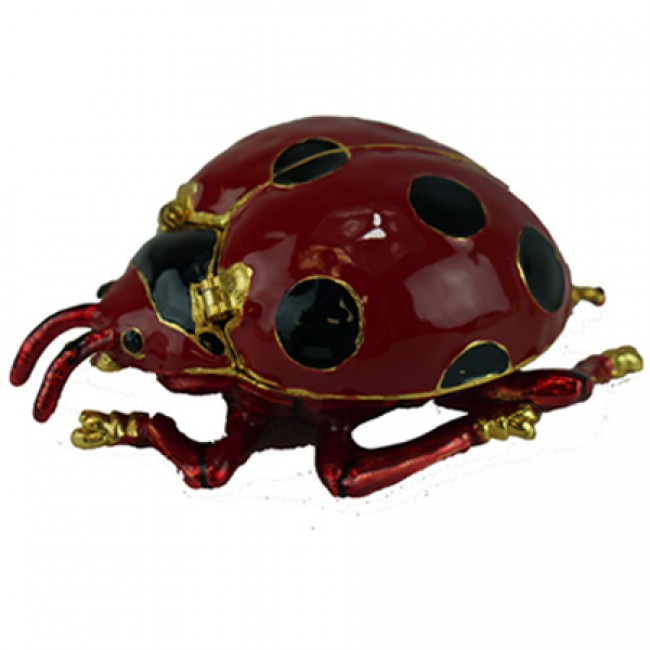 JF2047 Red Lady Bug Trinket Jewelry Box